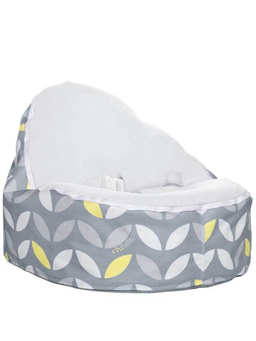 baby bean bag snuggle pod in bloom design with gray seat by chibebe