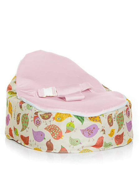 Snuggle Pod baby bean bag in Chirpy design with Blue seat by Chibebe Snuggle Pod baby bean bags