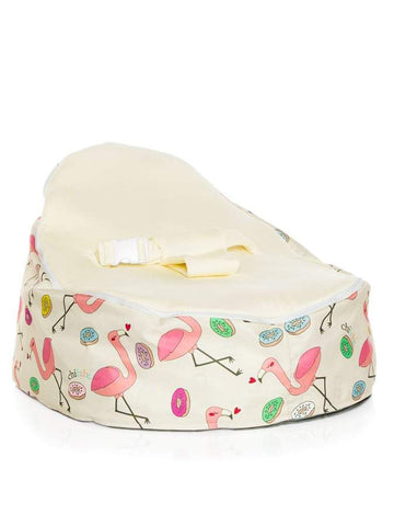 baby bean bag by chibebe in flamingo design with cream seat