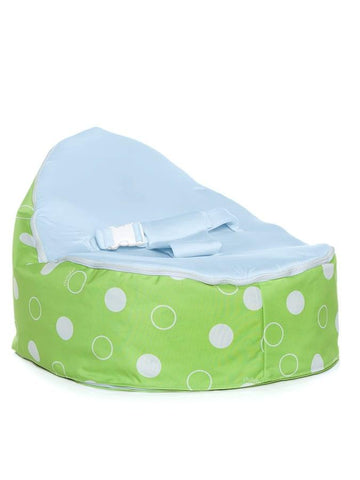 Green Polka snuggle pod baby bean bag with blue seat by Chibebe