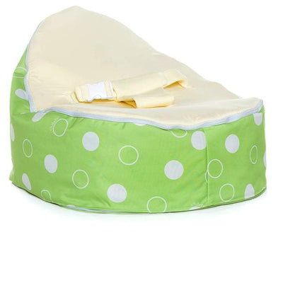 Green Polka snuggle pod baby bean bag with Cream seat by Chibebe