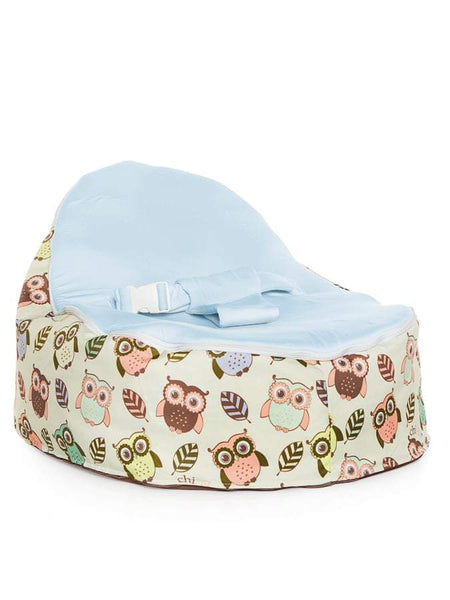 Snuggle Pod baby bean bag in Hoot design with owls print and blue seat by Chibebe
