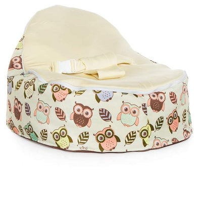 The Snuggle Pod Baby Bean Bag by Chibebe in Hoot design