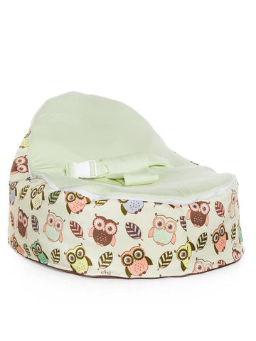 Snuggle Pod baby bean bag in Hoot design with owls print and lime seat by Chibebe