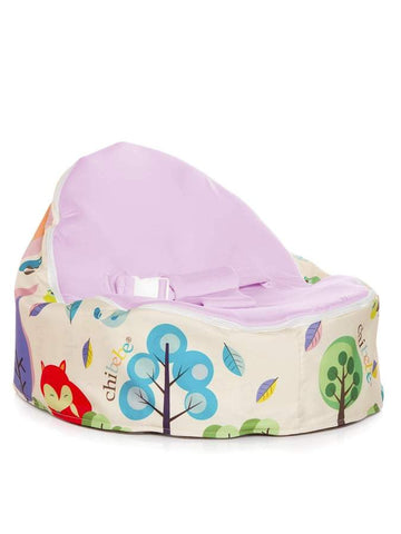 Moxie Foxie Snuggle Pod baby bean bag with swappable grape seat cover by Chibebe
