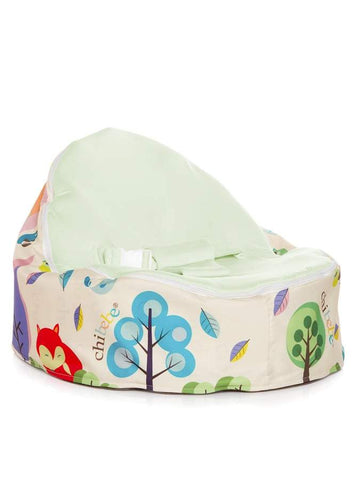 Moxie Foxie Snuggle Pod baby bean bag with swappable Lime seat cover by Chibebe
