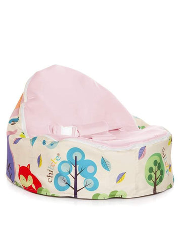 Moxie Foxie Snuggle Pod baby bean bag with swappable pink seat cover by Chibebe