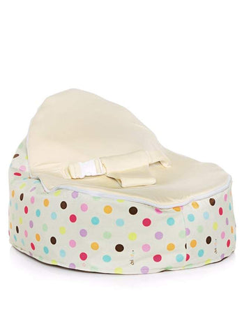 Sprinkles design Snuggle Pod baby beanbag by Chibebe with swappable Cream seat
