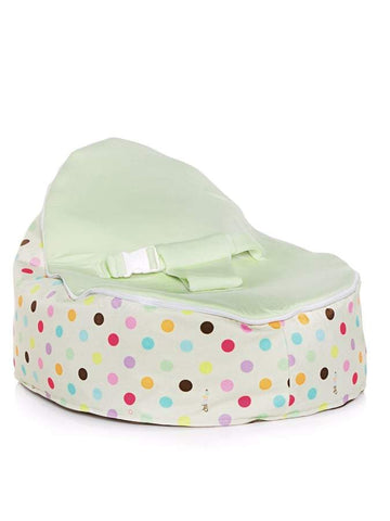 Sprinkles design Snuggle Pod baby beanbag by Chibebe with swappable Lime seat