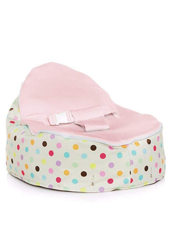 Sprinkles design Snuggle Pod baby beanbag by Chibebe with swappable Pink seat