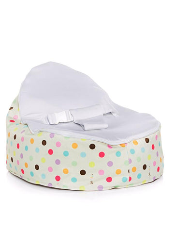 Sprinkles design Snuggle Pod baby beanbag by Chibebe with swappable Stone Gray seat