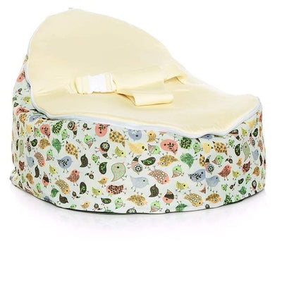 Teeny Birds design Snuggle Pod Baby Bean Bag by Chibebe with Cream swappable seat.