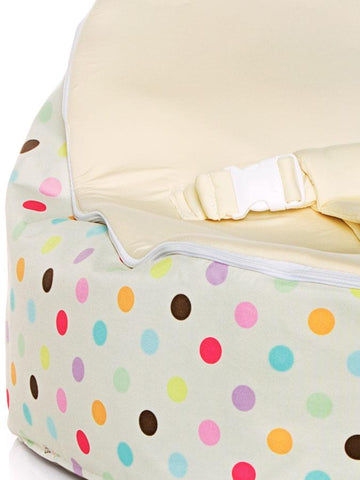 Close up of Sprinkles snuggle pod baby bean bag with swappable cream seat
