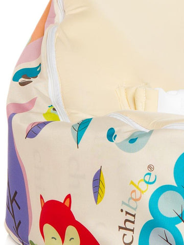 Close-Up view of Moxie Foxie Baby Bean Bag with swappable Cream seat