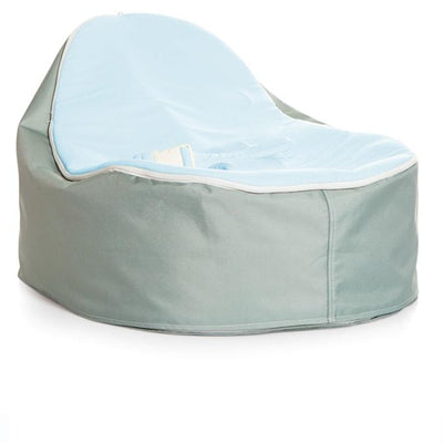 Whimsy design Snuggle Pod Baby Bean Bag by Chibebe. With Blue color swappable seat top.