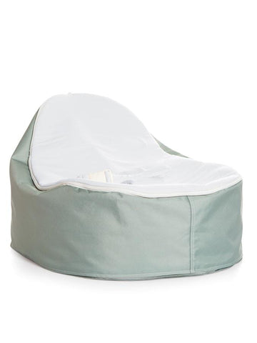 Whimsy design Snuggle Pod Baby Bean Bag by Chibebe. With Stone color swappable seat top.