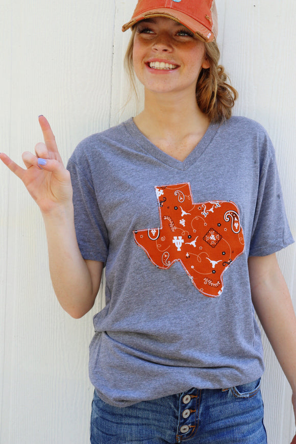 UT Longhorns V Neck Tee [Grey]