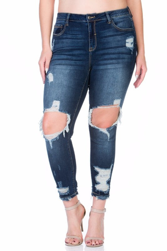 Queen Size Dilly Distressed Open-Knee Jeans