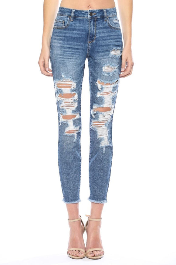 Drizzy Distressed Cropped Skinny Jeans