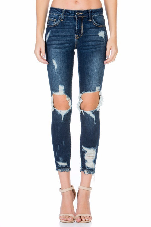 Dilly Distressed Open-Knee Jeans