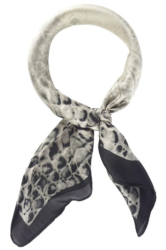 Celia Crocodile Print Silk Neckerchief [Black/White]