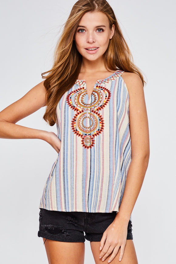 Shackelford Sleeveless Embroidered Tank Top