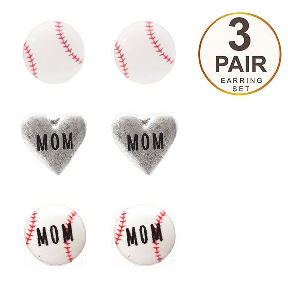 Set of 3 Baseball Mom Stud Earrings