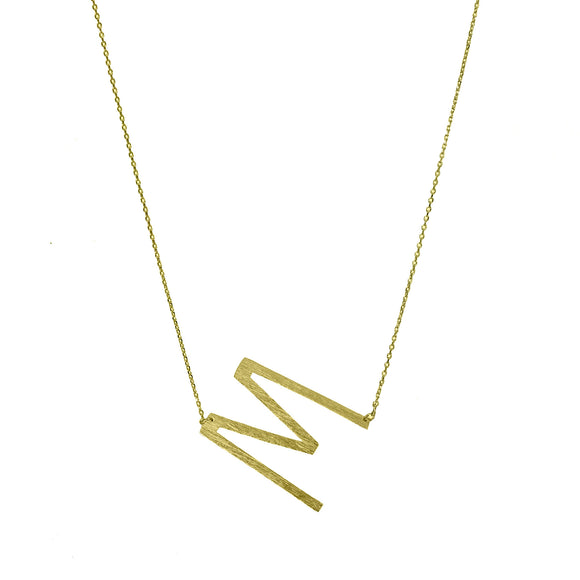 Large Sideways Initial Necklace [Gold]