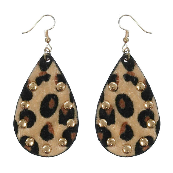 Leopard Studded Teardrop Earrings