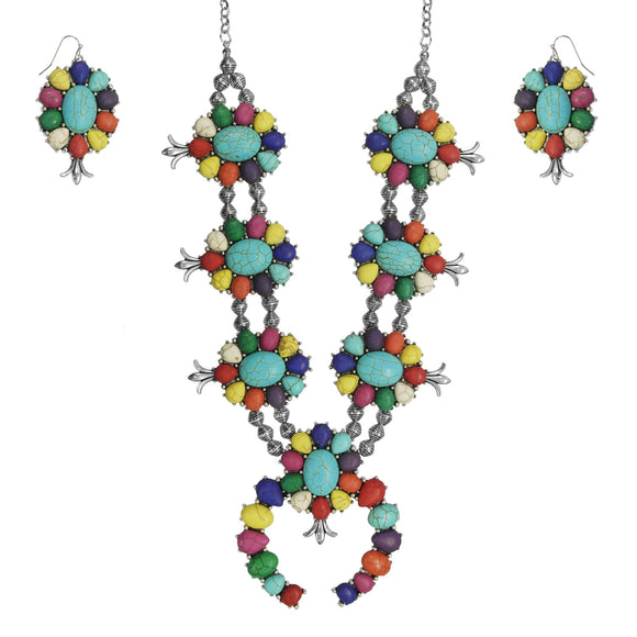 Fiesta Squash Blossom Necklace & Earring Set