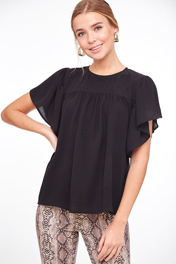 Starla Studded Ruffle Sleeve Top [Black]