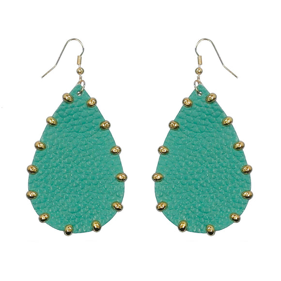 Leather Studded Teardrop Earrings [2 Colors]