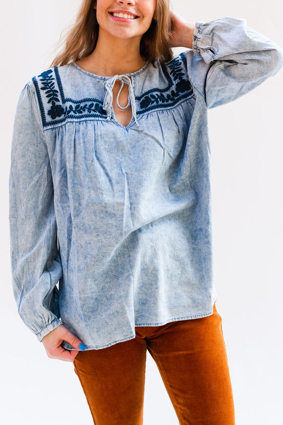Arlene Acid Wash Embroidered Peasant Top