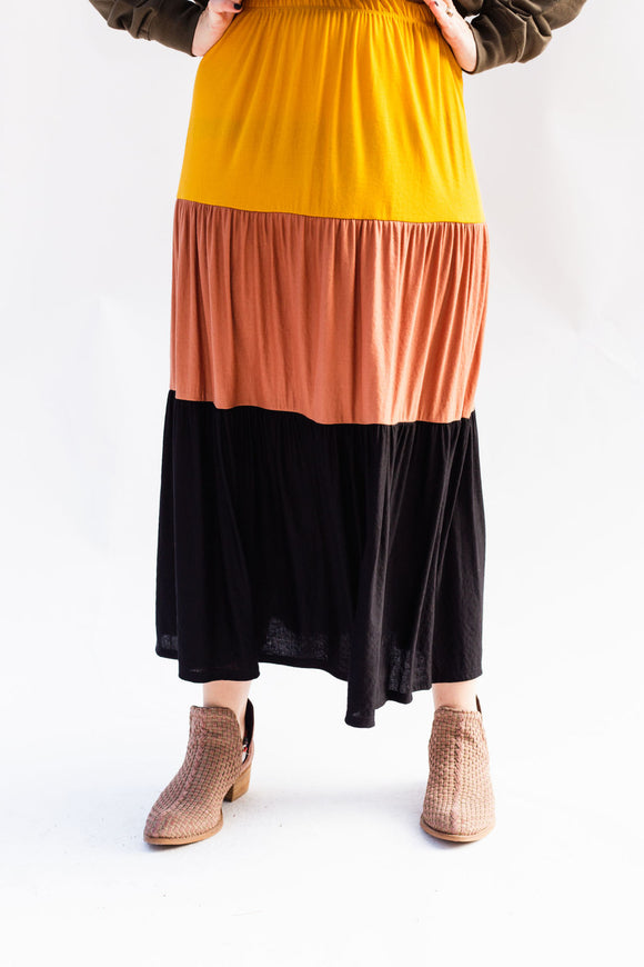 Collin Colorblock Tiered Maxi Skirt