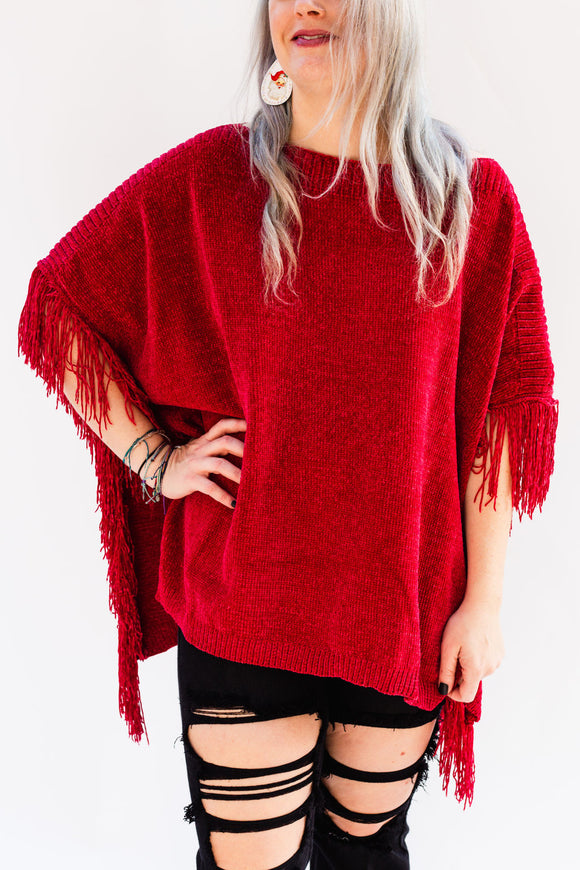 Feliz Fringe Oversized Sweater Poncho [Berry Red]