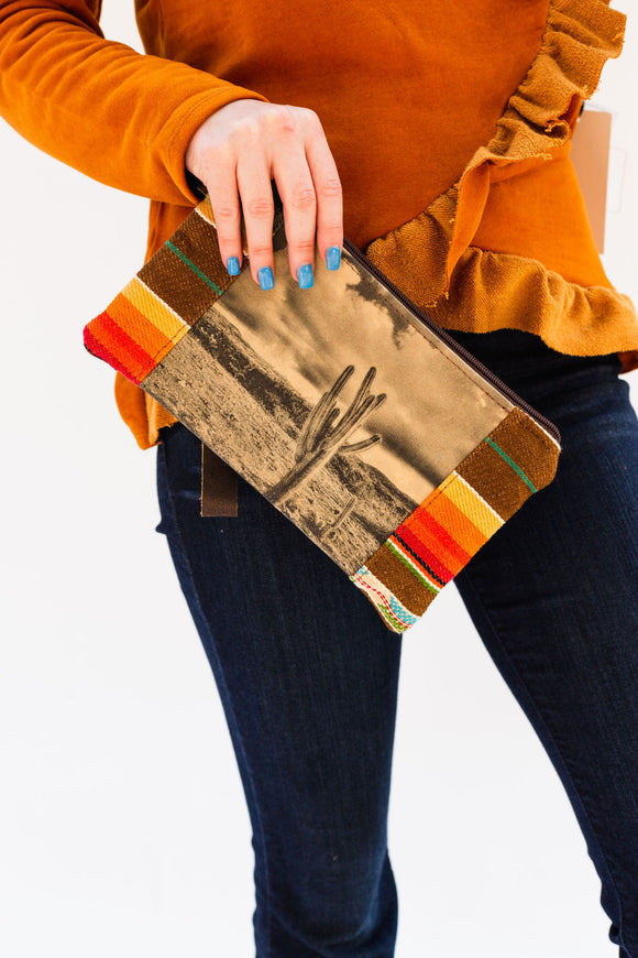 Authentic Leather Cactus Serape Clutch