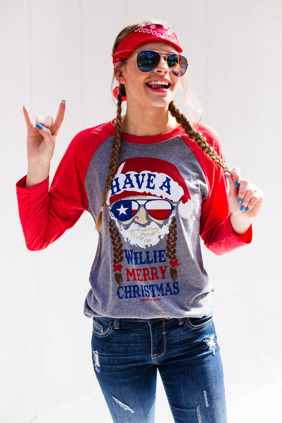 Have a Willie Nice Christmas Raglan Tee