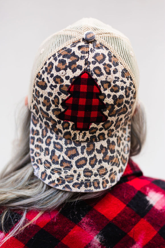 Buffalo Plaid Leopard Trucker Hat
