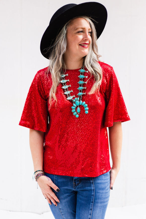 San Antonio Sequin Top [Red]
