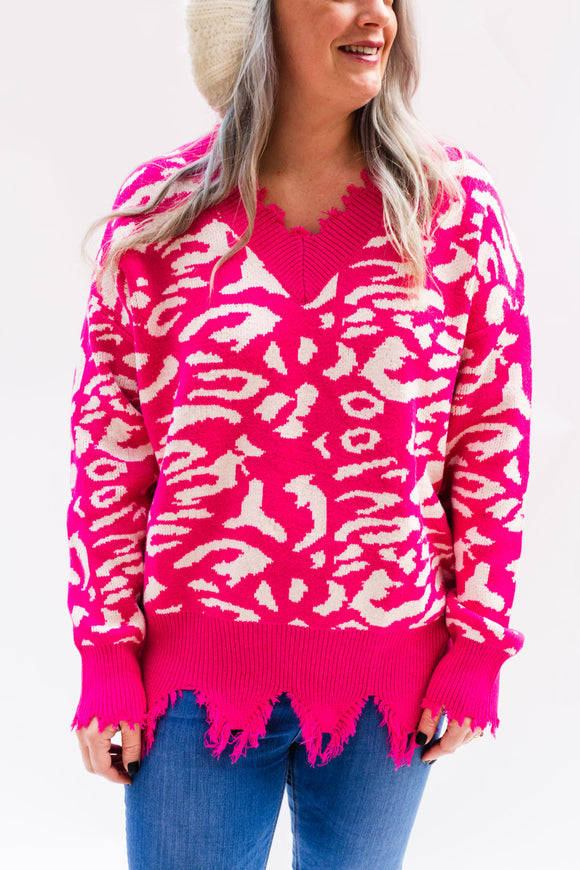 Daring Pink Leopard Distressed Sweater