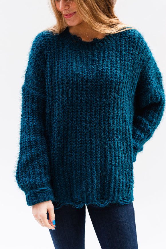 Deadwood Distressed Sweater [Dark Teal]