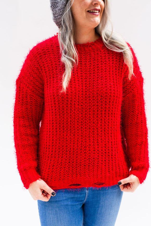 Last Call Deadwood Distressed Sweater [Red]