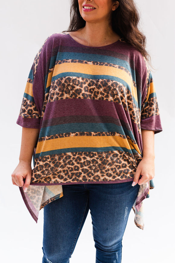 Susannah Striped Leopard Poncho Top