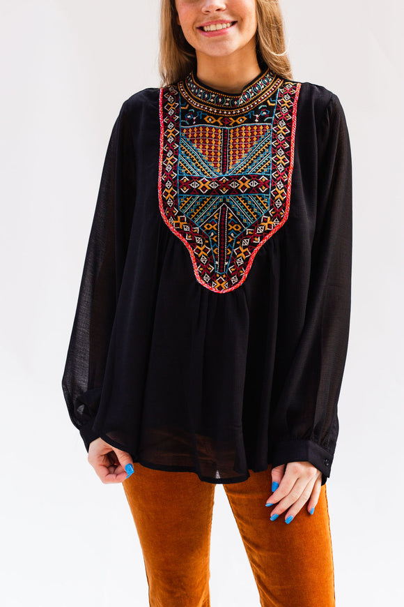 Yorktown Embroidered Yoke Top
