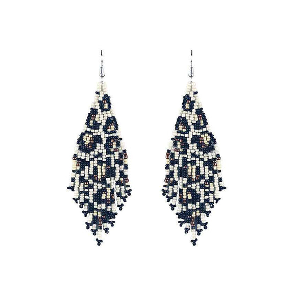 Leopard Beaded Tassel Earrings [Ivory Copper]