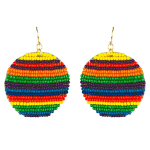 Sweet Beaded Circle Earrings [Rainbow]