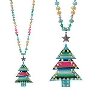 Agave Blue Serape Christmas Tree Necklace