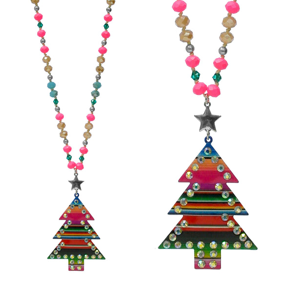 Agave Red Serape Christmas Tree Necklace