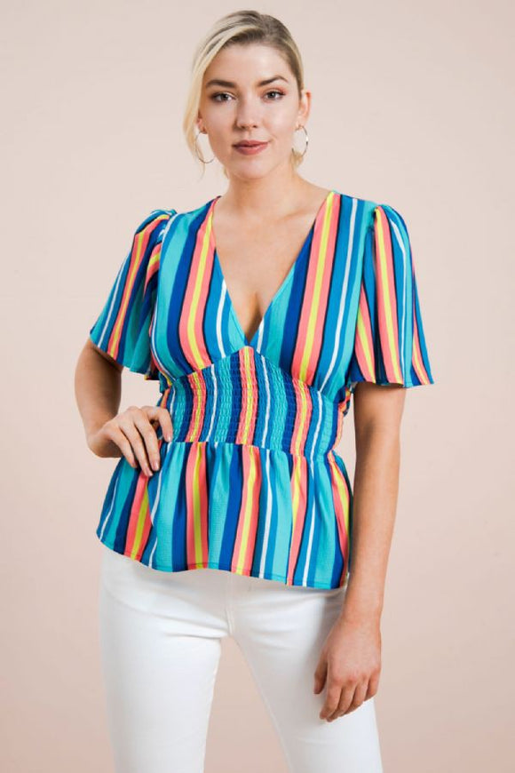 Sunrise Smocked Striped Top