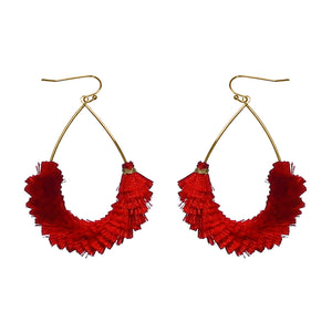 Overlapping Fringe Teardrop Earrings [All Colors]